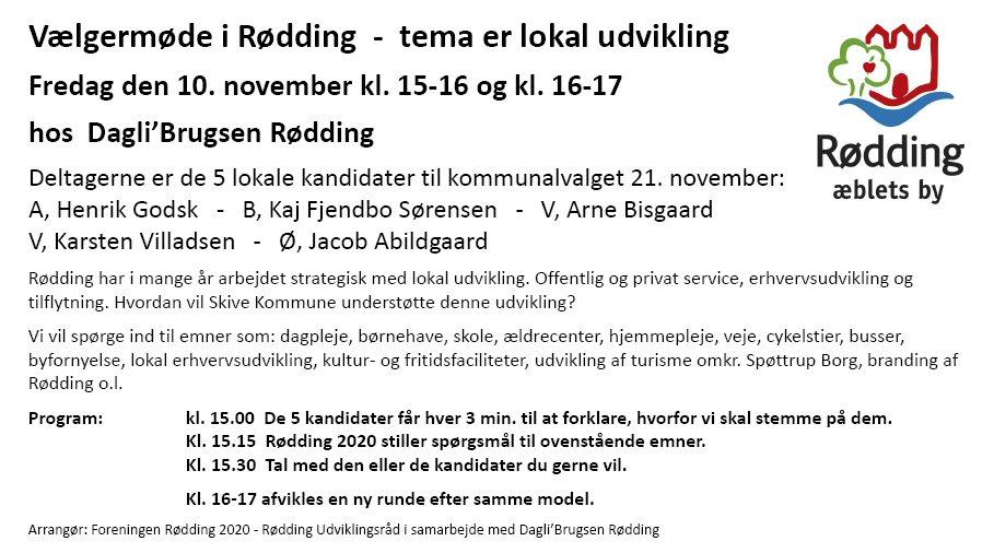 Kom til vælgermøde i Rødding – tema er lokal udvikling!
